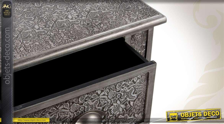 chiffonnier style marocain bois et m tal noir et argent 5 tiroirs. Black Bedroom Furniture Sets. Home Design Ideas