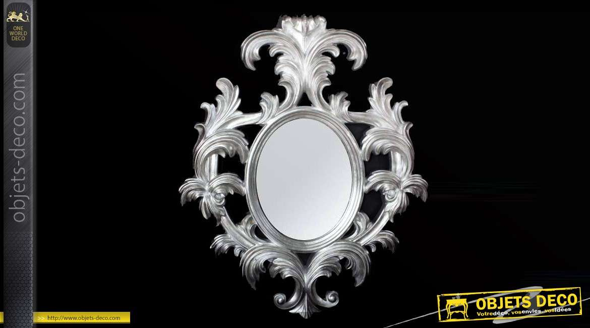 grand miroir ovale de style baroque argent 119 cm. Black Bedroom Furniture Sets. Home Design Ideas