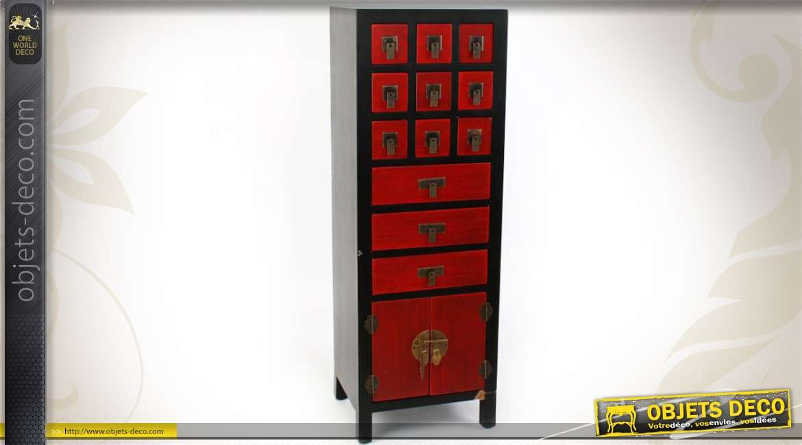 chiffonnier rouge et noir de style japonais. Black Bedroom Furniture Sets. Home Design Ideas
