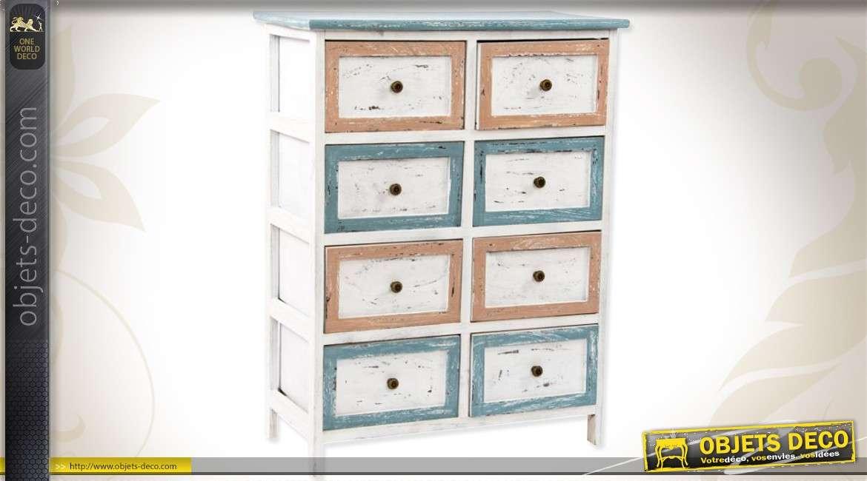 commode de style r tro 8 tiroirs patine multicolore. Black Bedroom Furniture Sets. Home Design Ideas