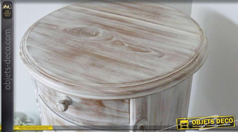table de chevet tambour en bois massif style r tro effet chaul. Black Bedroom Furniture Sets. Home Design Ideas