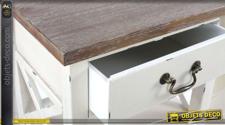 table d 39 appoint haute bicolore aspect vieilli. Black Bedroom Furniture Sets. Home Design Ideas