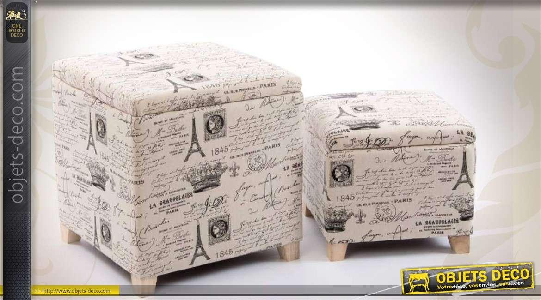 poufs coffres gigognes en bois et tissu motifs style vintage. Black Bedroom Furniture Sets. Home Design Ideas