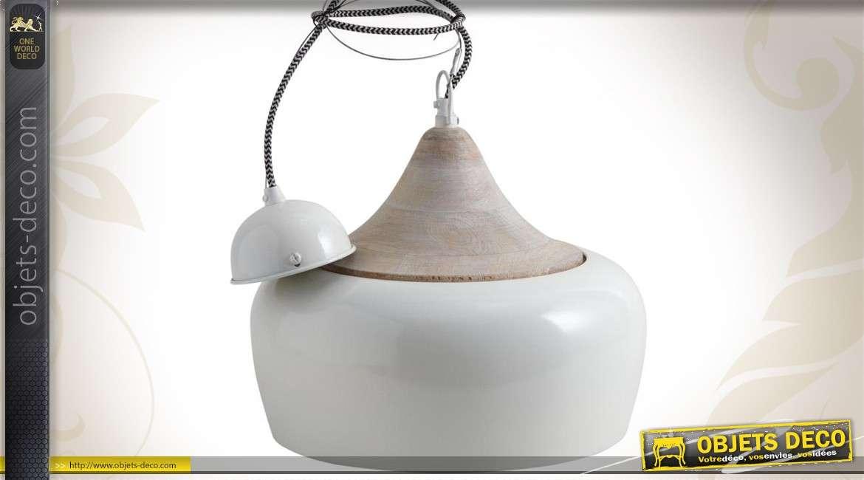Lampe suspension de style rétro en métal laqué ivoire et bois