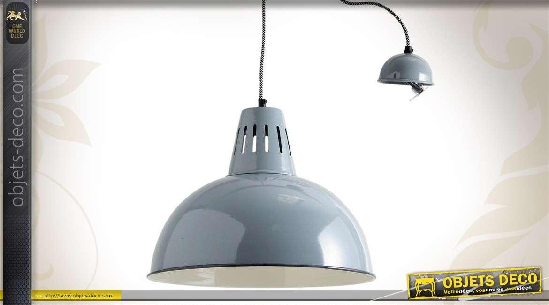 Suspension style industriel réflecteur dôme métal laqué gris vert