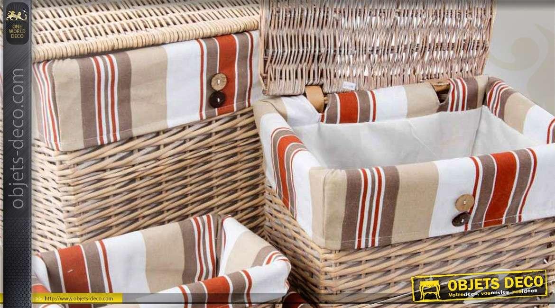 ensemble de paniers et corbeilles en osier avec doublures tissu. Black Bedroom Furniture Sets. Home Design Ideas