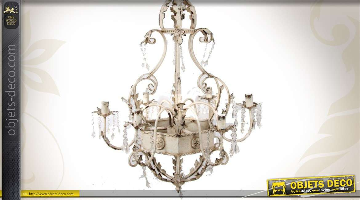 Lustre en m tal patine blanche vieillie 5 bras for Lustre en suspension