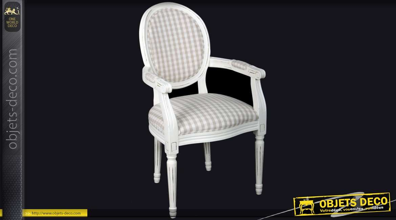 chaise m daillon en bois et lin finition blanc antique. Black Bedroom Furniture Sets. Home Design Ideas