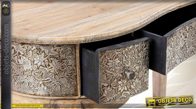 coiffeuse de charme bois naturel et m tal emboss finition. Black Bedroom Furniture Sets. Home Design Ideas
