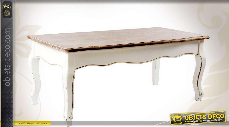 Table basse style r tro blanc antique avec plateau bois for Objet deco pour table basse