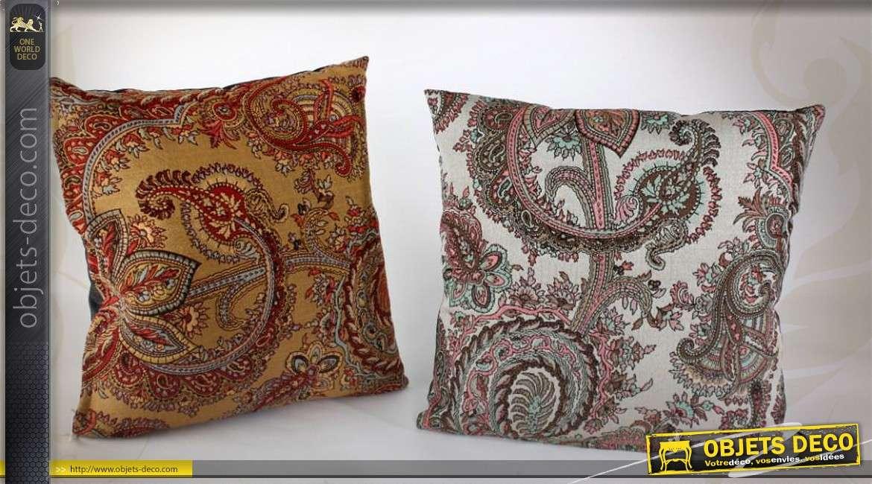 lot de 2 coussins d coratifs complets 45 x 45 motifs ethniques. Black Bedroom Furniture Sets. Home Design Ideas