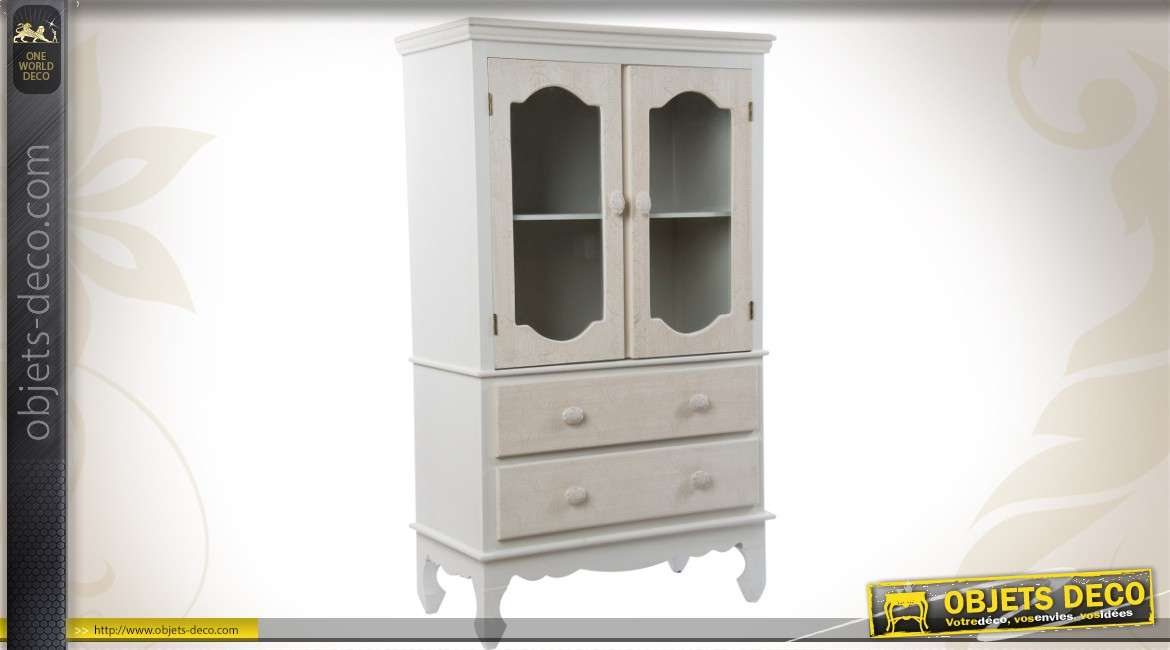 vitrine de style r tro avec patine bicolore 2 portes et 2 tiroirs. Black Bedroom Furniture Sets. Home Design Ideas