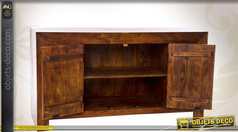 bahut en sheesham en bois massif 2 portes et 4 tiroirs. Black Bedroom Furniture Sets. Home Design Ideas
