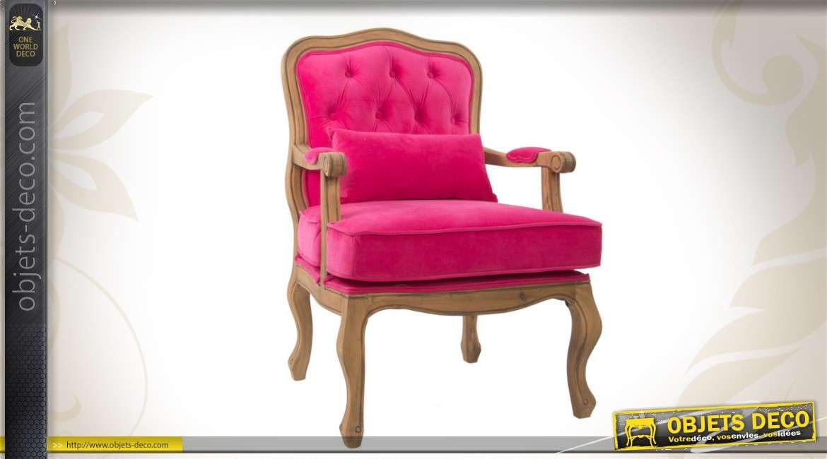 fauteuil de salon ancien bois et velours capitonn magenta. Black Bedroom Furniture Sets. Home Design Ideas