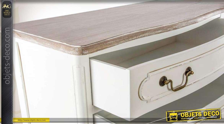 chiffonnier blanc antique en bois 6 tiroirs. Black Bedroom Furniture Sets. Home Design Ideas