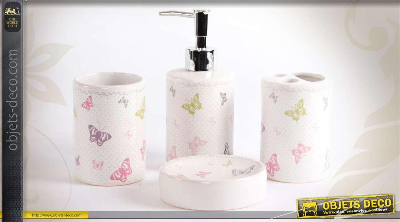 set de bain en c ramique 4 accessoires motifs papillons