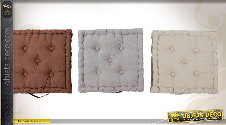 Ensemble de 3 coussins de sols capitonnés en 40 x 40 cm