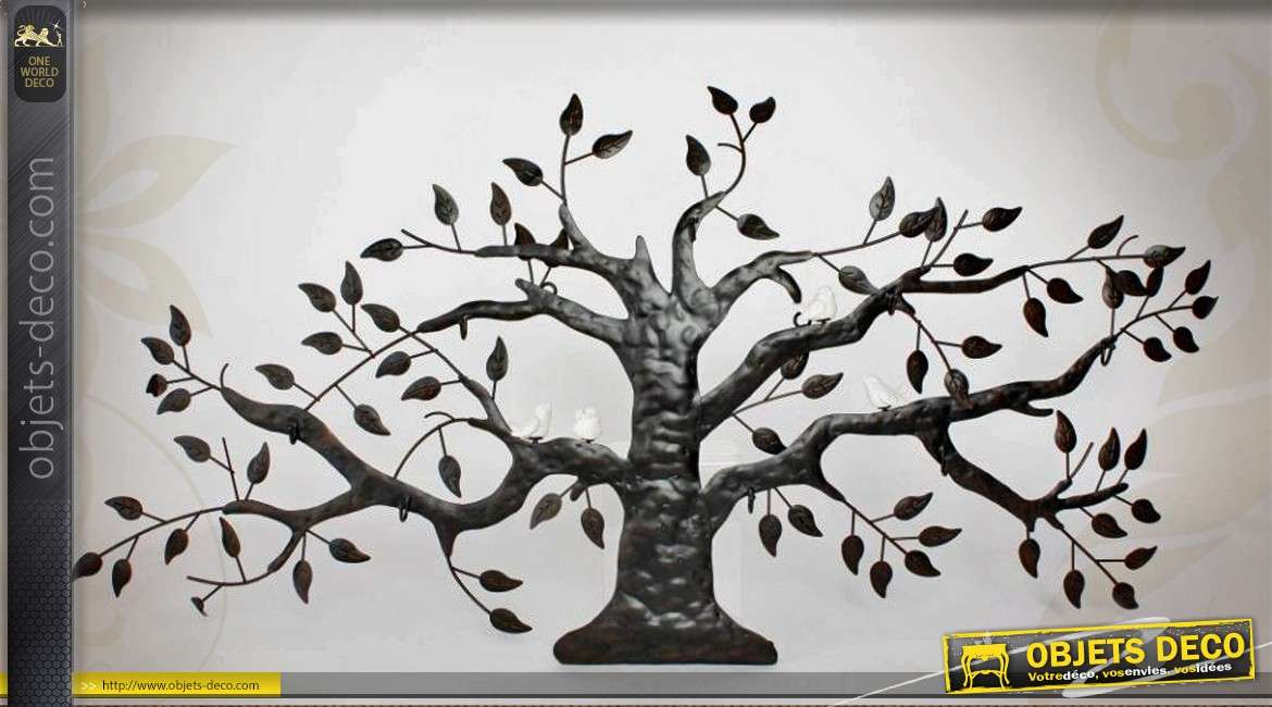 d co murale en m tal et c ramique arbre g ant et oiseaux blancs. Black Bedroom Furniture Sets. Home Design Ideas