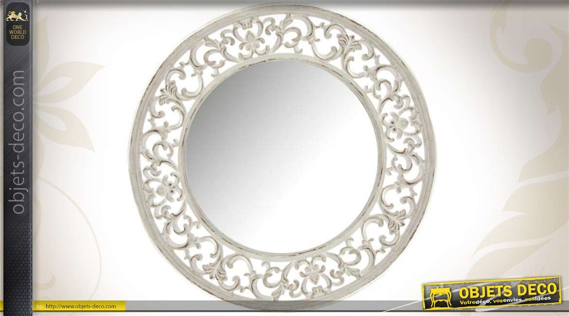 Grand miroir rond 80 cm coloris blanc antique de style for Grand miroir rond