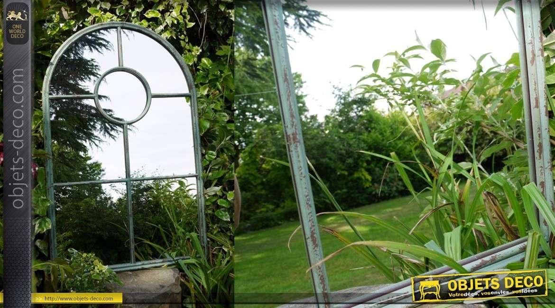 Miroir fen tre en arcade de style industriel et ancien 124 cm for Miroir vertical mural