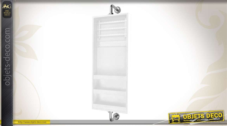 Miroir Mural Pivotant Range Bijoux Coloris Blanc