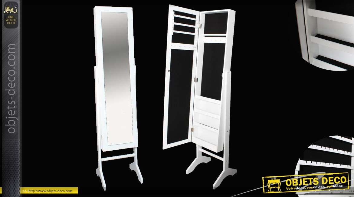 miroir sur pied psych avec grande armoire bijoux coloris blanc. Black Bedroom Furniture Sets. Home Design Ideas