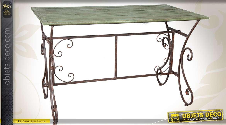 Table en bois et fer forg de style r tro patine vert antique - Table en fer forge et bois ...