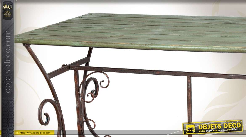 table en bois et fer forg de style r tro patine vert antique. Black Bedroom Furniture Sets. Home Design Ideas