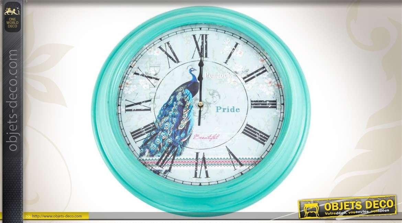 Horloge murale coloris bleu turquoise for Objet deco couleur turquoise