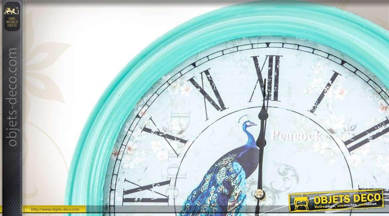 Horloge murale coloris bleu turquoise for Pendules murales decoratives