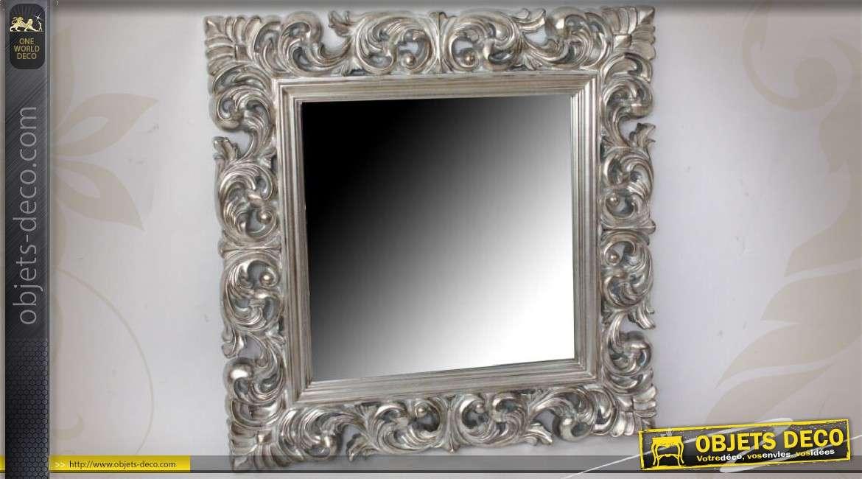 miroir baroque argent cadre en bois ajour 92 x 92 cm. Black Bedroom Furniture Sets. Home Design Ideas