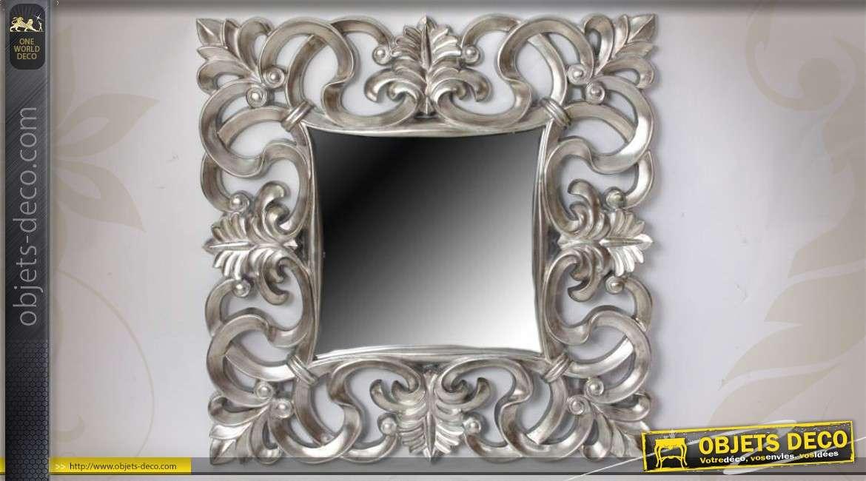 Miroir ovale baroque gris argent motifs v g taux ajour s for Grand miroir baroque argente