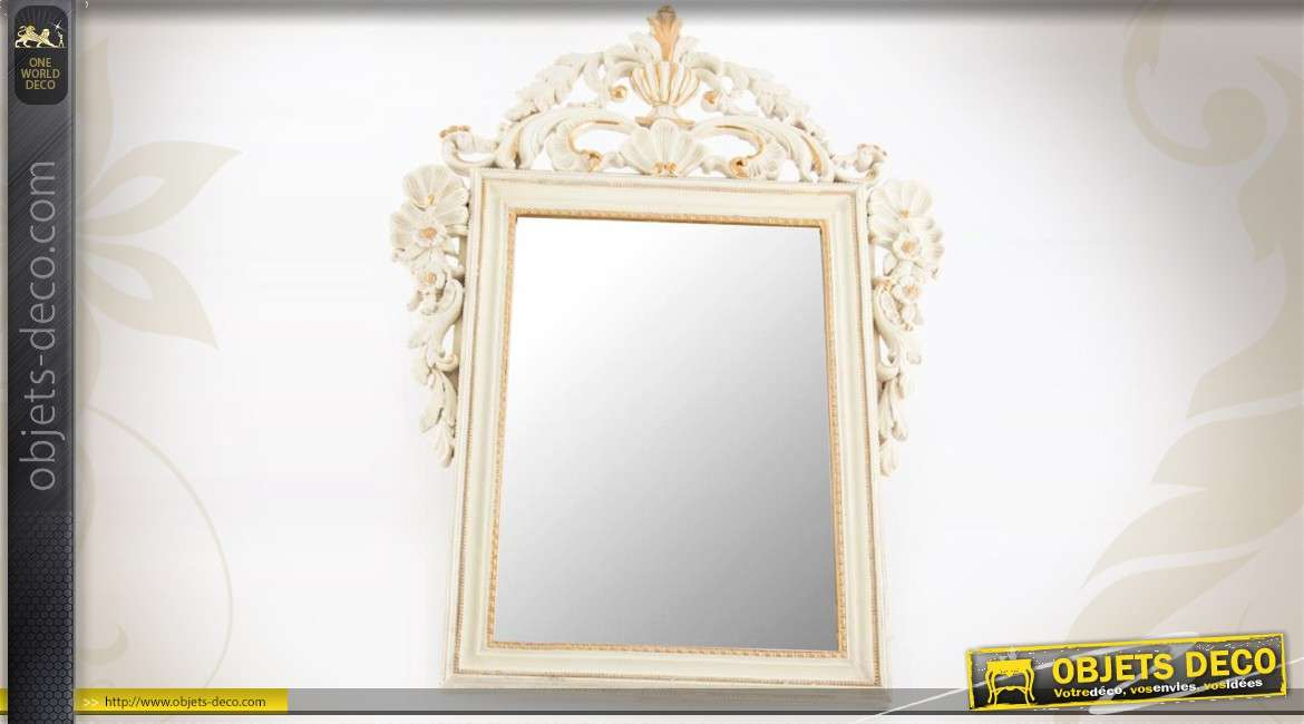 Miroir mural blanc antique de style baroque for Miroir baroque blanc