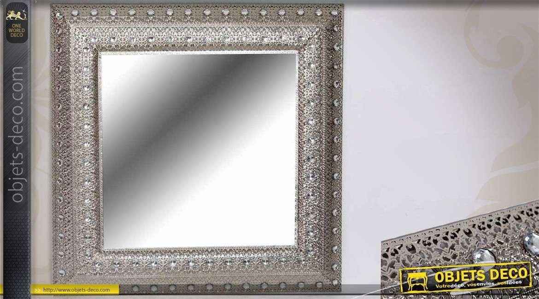 Miroir oriental carr en m tal ouvrag et argent for Miroir mural metal