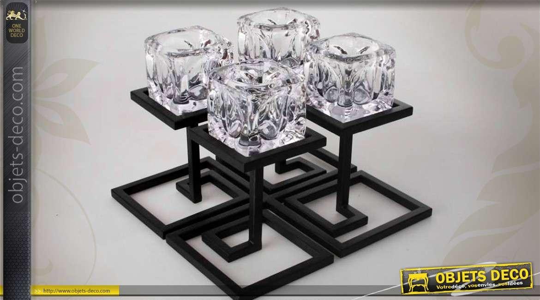 bougeoir centre de table en m tal noir et verre de style design