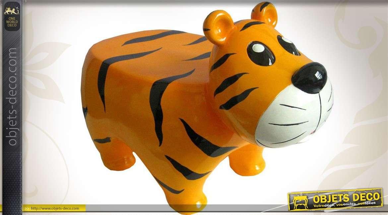 pouf tabouret en r sine de verre pour enfant en forme de tigre. Black Bedroom Furniture Sets. Home Design Ideas