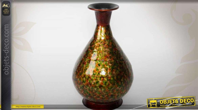 Grand vase en m tal texture multicolore finition vernis 56 cm for Grand objet deco