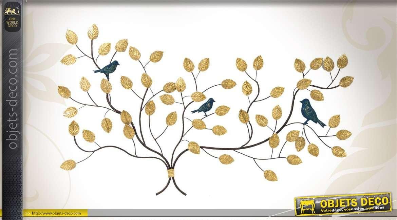 D coration murale d 39 oiseaux perch s sur des branches for Oiseaux artificiels de decoration