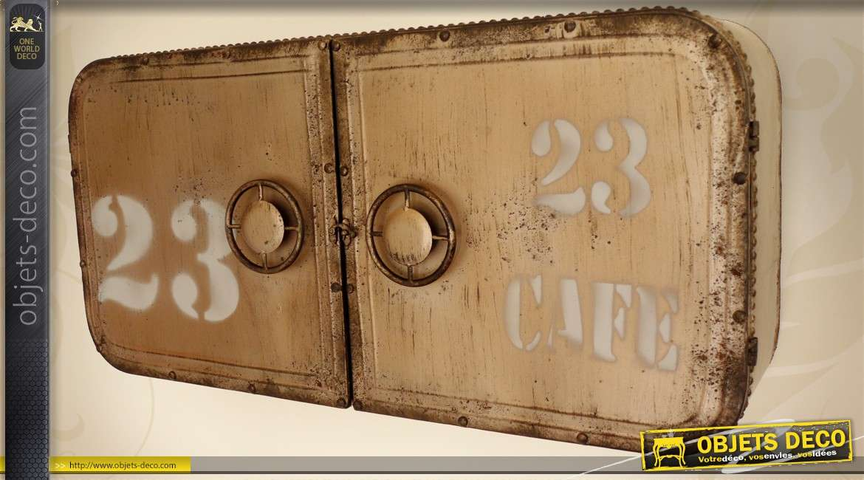 placard mural r tro industriel 2 portes forme vieux coffre fort. Black Bedroom Furniture Sets. Home Design Ideas