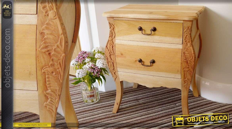 table chevet 2 tiroirs style ancien sculpt main meuble finir - Table De Nuit Rustique