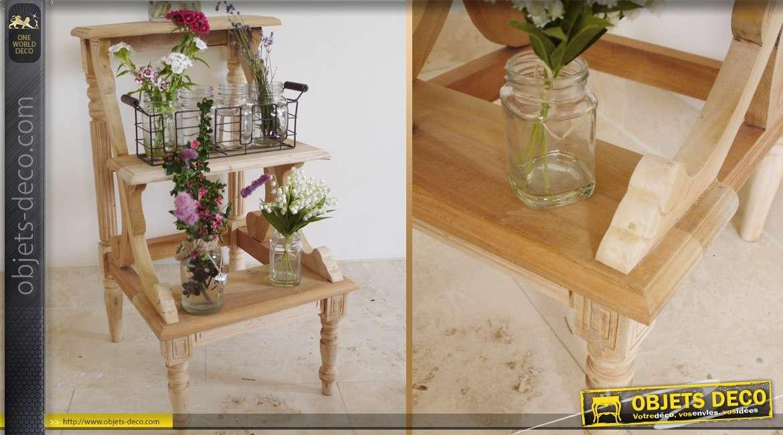 sellette escabeau porte plantes acajou m dium brut sans finition. Black Bedroom Furniture Sets. Home Design Ideas