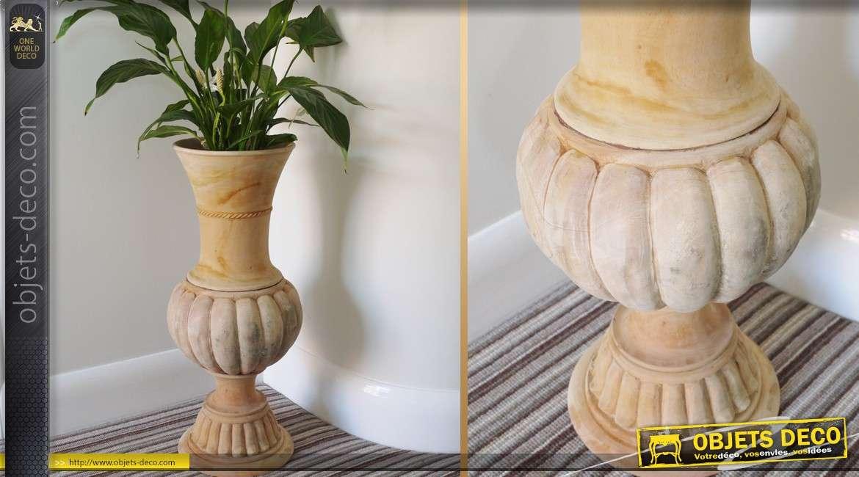 Grand vase godrons en acajou medium brut 67 cm for Grand objet deco