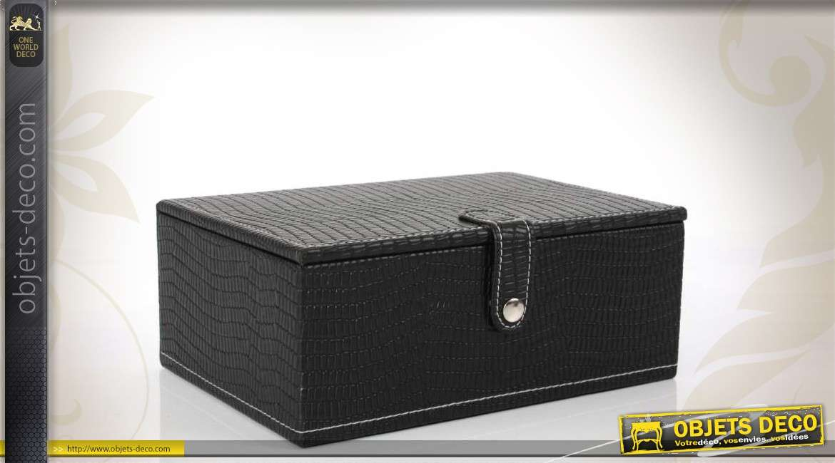 bo te bijoux d corative noire imitation croco. Black Bedroom Furniture Sets. Home Design Ideas