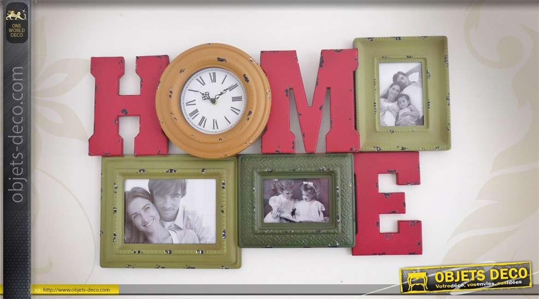 horloge murale d corative avec p le m le 3 vues. Black Bedroom Furniture Sets. Home Design Ideas