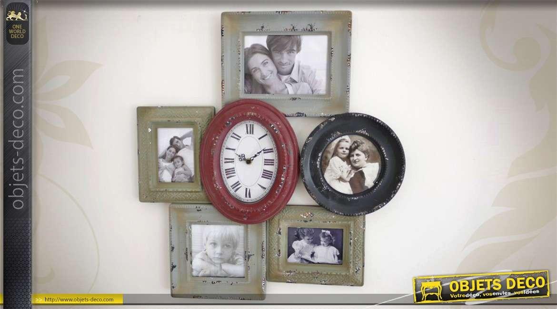 Horloge r tro avec p le m le 5 vues patine multicolore - Pele mele style industriel ...