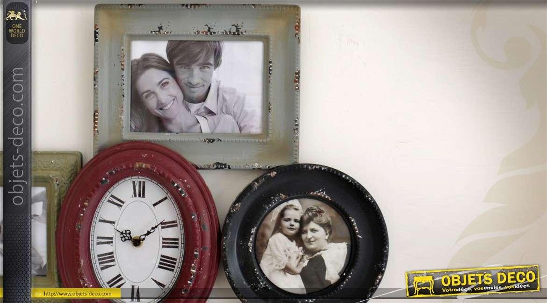 Horloge rétro avec pêle-mêle à 5 vues patine multicolore