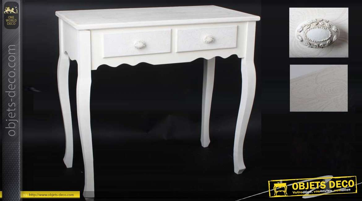 table de coiffeuse de style shabby chic et romantique 2 tiroirs. Black Bedroom Furniture Sets. Home Design Ideas