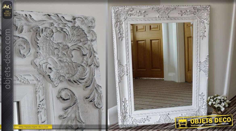 Miroir de style ancien patine blanche vieillie 94 cm