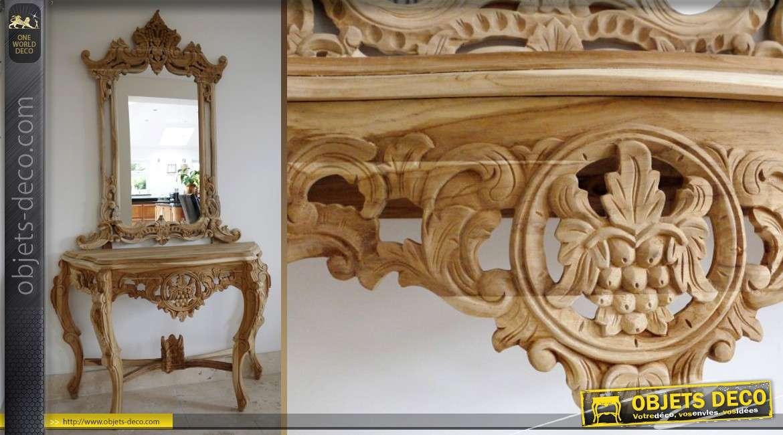 console de style baroque avec grand miroir meuble sans finition. Black Bedroom Furniture Sets. Home Design Ideas