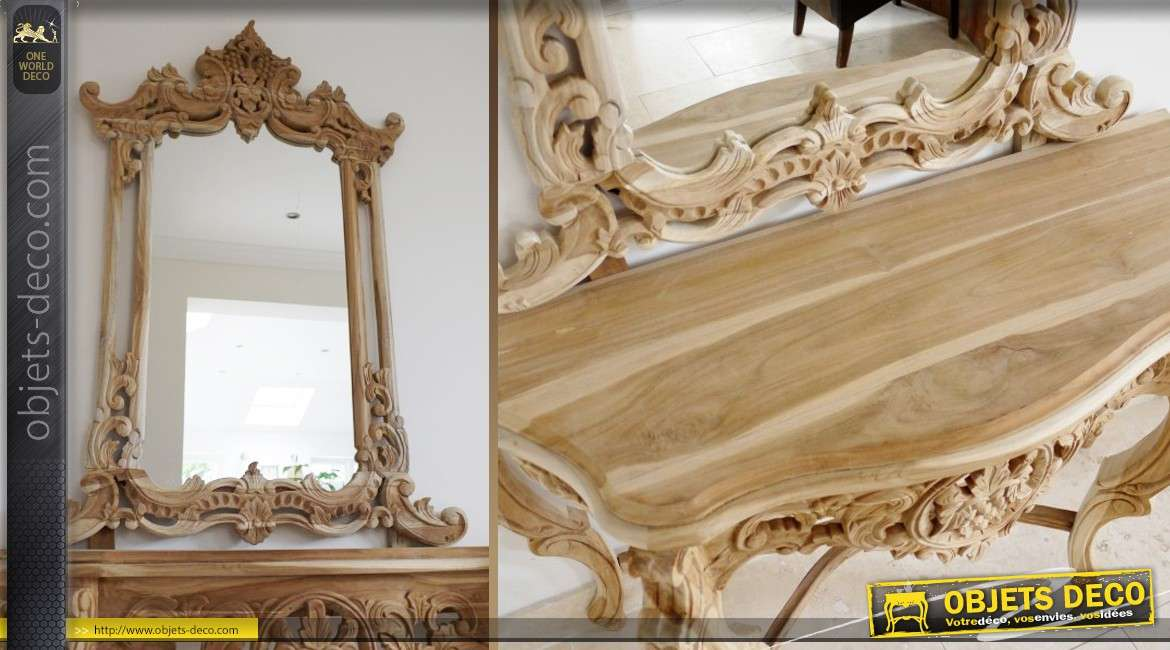console de style baroque avec grand miroir meuble sans finition. Black Bedroom Furniture Sets. Home Design Ideas